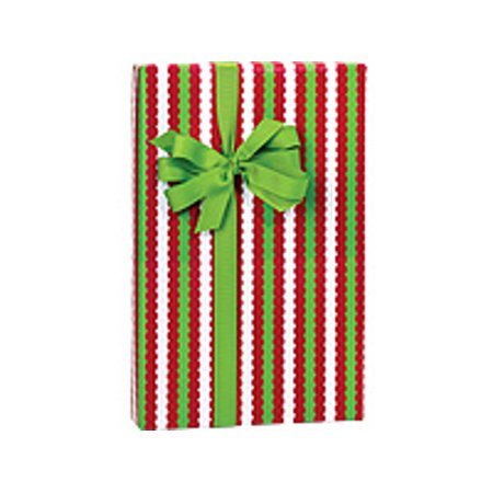 Red Green and White Merry Christmas Striped Holiday /Christmas Gift Wrapping Paper 16ft - Red And White Striped Paper