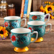 The Pioneer Woman Flea Market 4-Piece 15-Ounce Footed Decorated Mug Set