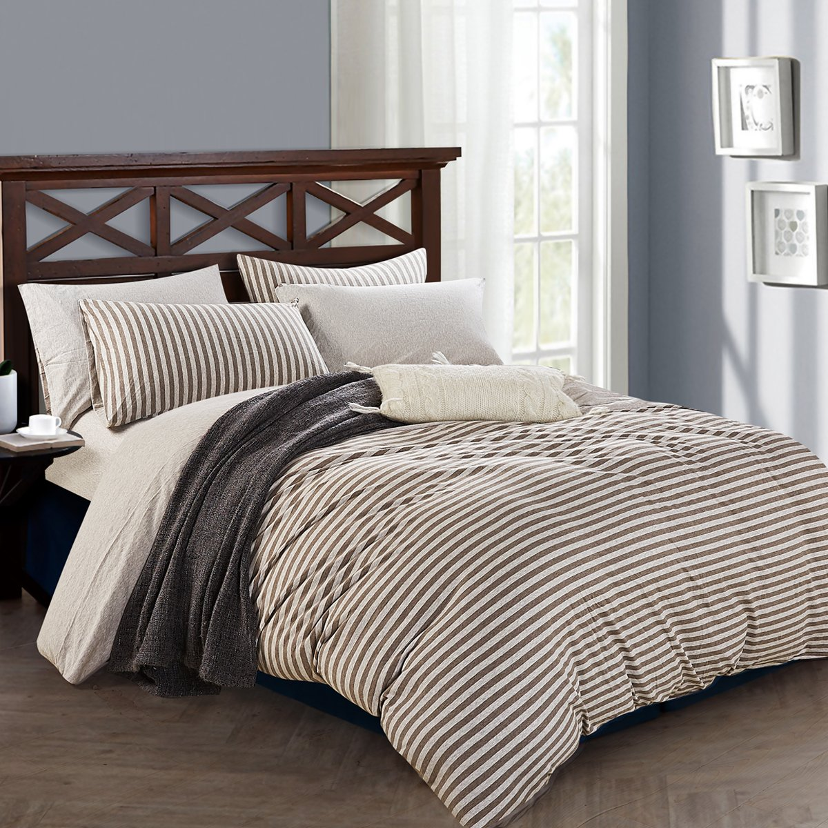 Pure Era Duvet Cover Set Ultra Soft Heather Jersey Knit
