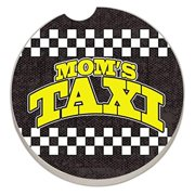 Counter Art Absorbent Stoneware Car Coaster, Mom's Taxi - Checkerboard