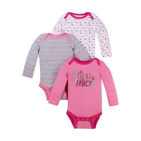 Long Sleeve Bodysuits, 3-pack (Baby Girls)
