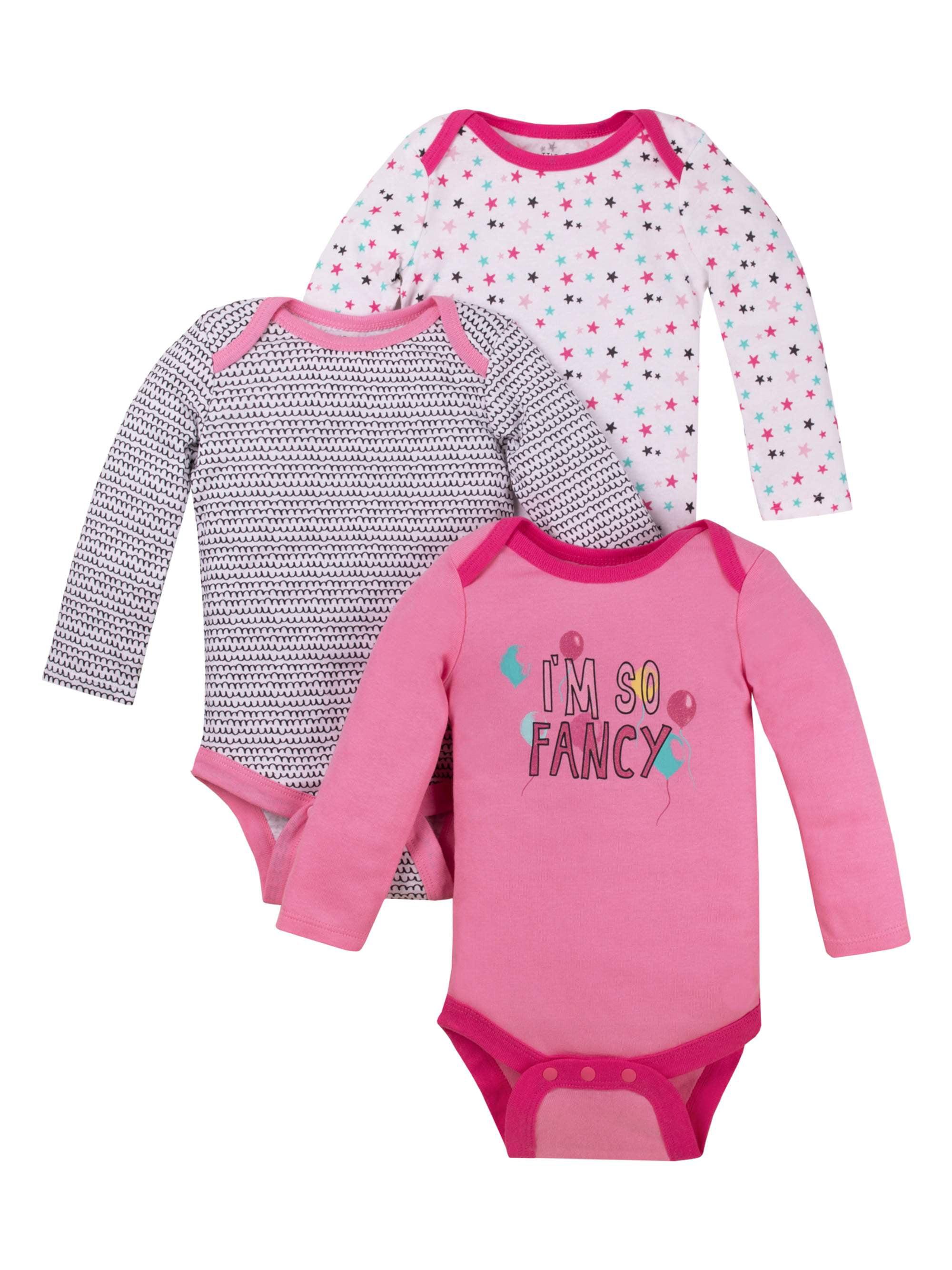 Long Sleeve Bodysuits, 3-pack (Baby Girls)