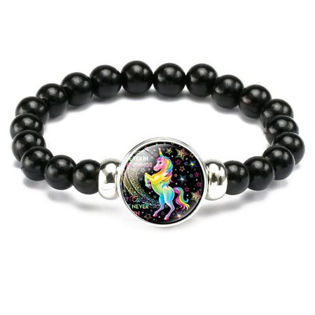 KABOER 1 Pieces Unicorn Beads Bracelets for Child Girl Teens Party Jewelry Christmas Birthday Gift ()