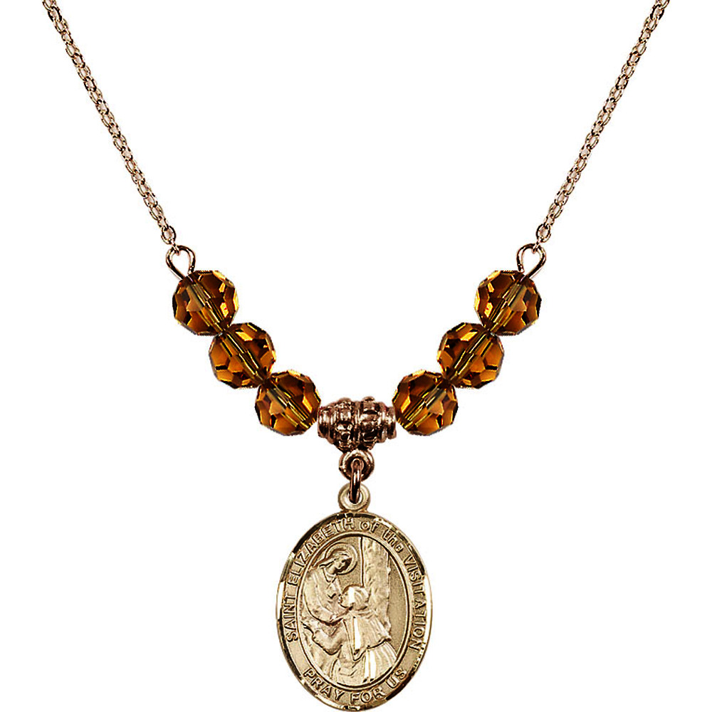 18-Inch Hamilton Gold Plated Necklace w  6mm Yellow November Birth Month Stone Beads & Saint Elizabeth of the Visitation by