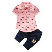 JEFFENLY 2 Pcs Toddler Baby Kids Boy Outfits Set,Short Sleeve Print Gentleman Shirt T-Shirt Pants Summer Clothes Suit