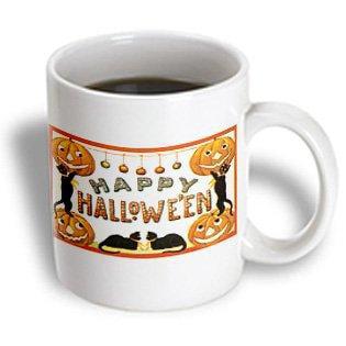 3dRose Vintage Happy Halloween Jack O Lanterns and Black Cats, Ceramic Mug, 11-ounce