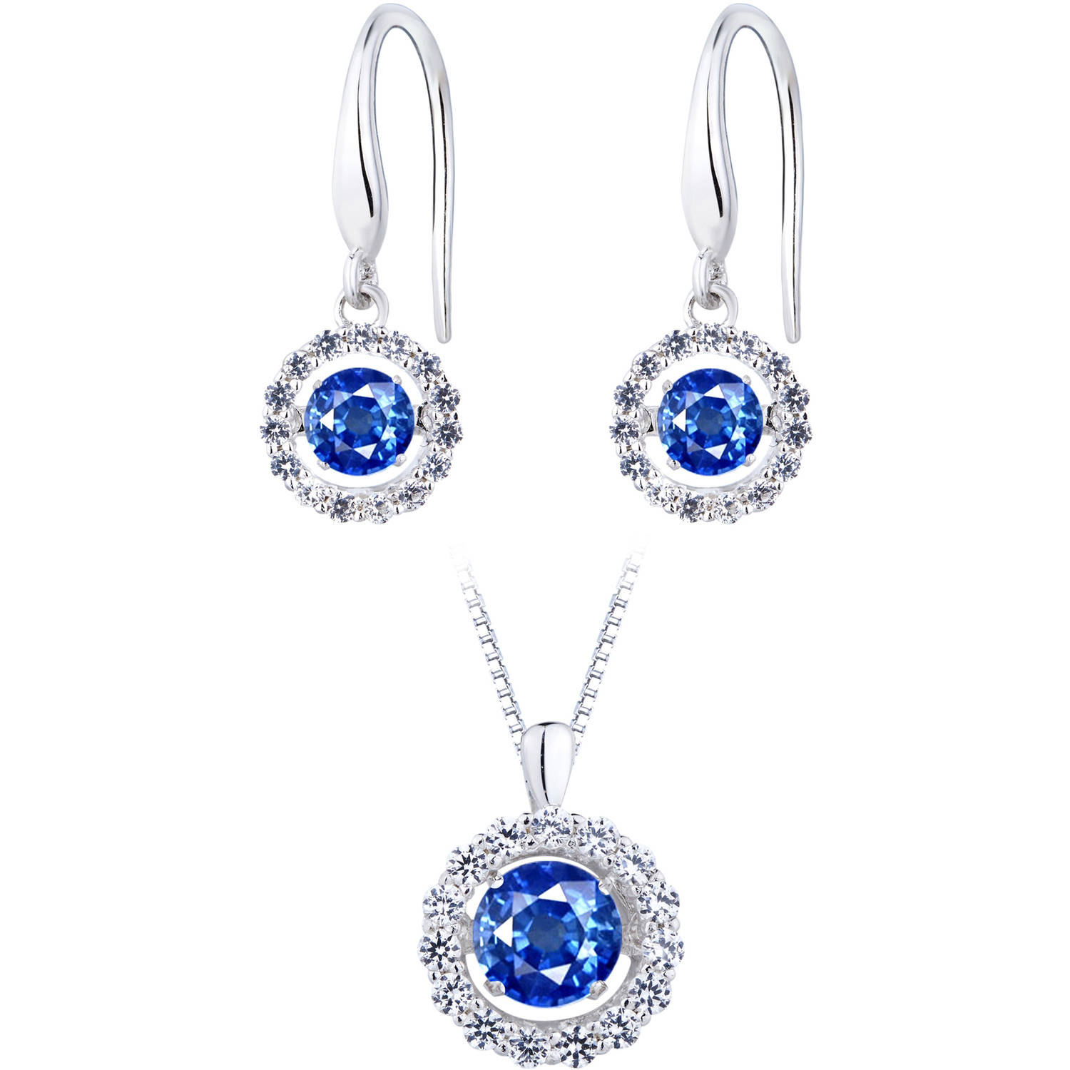 Lab Created Blue Sapphire Dancing Stone Silver Earring and Pendant Set by Generic