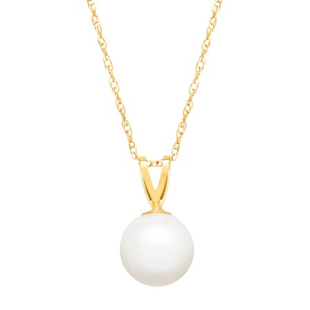 7.5 mm Freshwater Pearl Pendant Necklace in 14kt Gold
