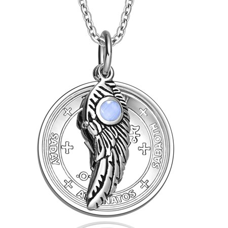 Archangel Michael Sigil Amulet Magic Powers Angel Wing Charm Sky Blue Simulated Cats Eye 18 Inch Necklace