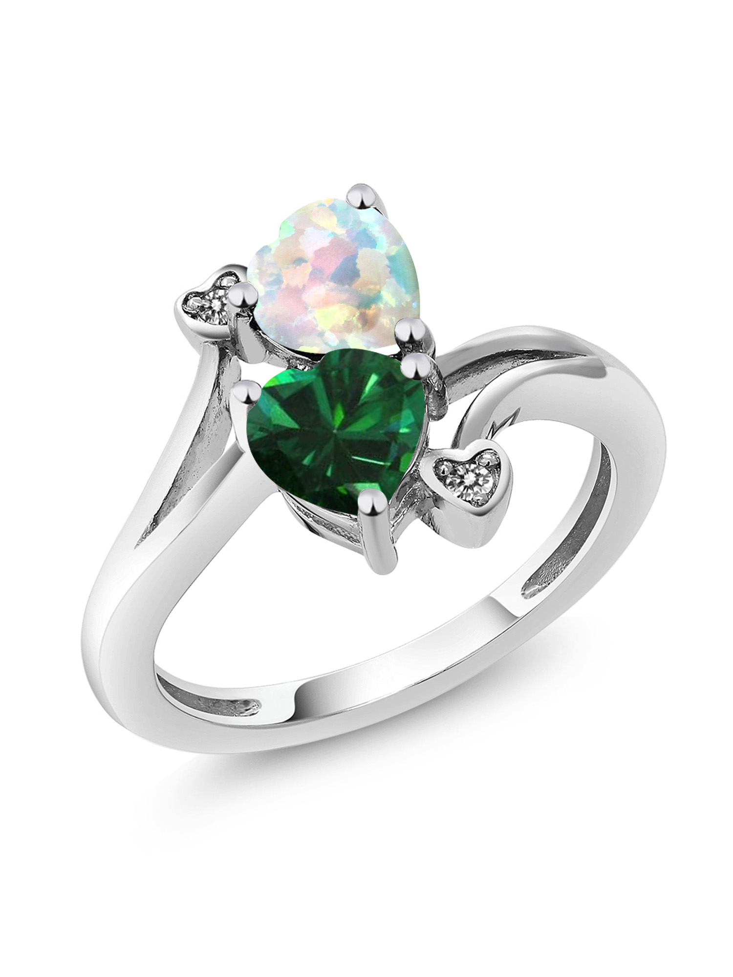 1.46 Ct Green Simulated Emerald White Simulated Opal 10K White Gold Ring by