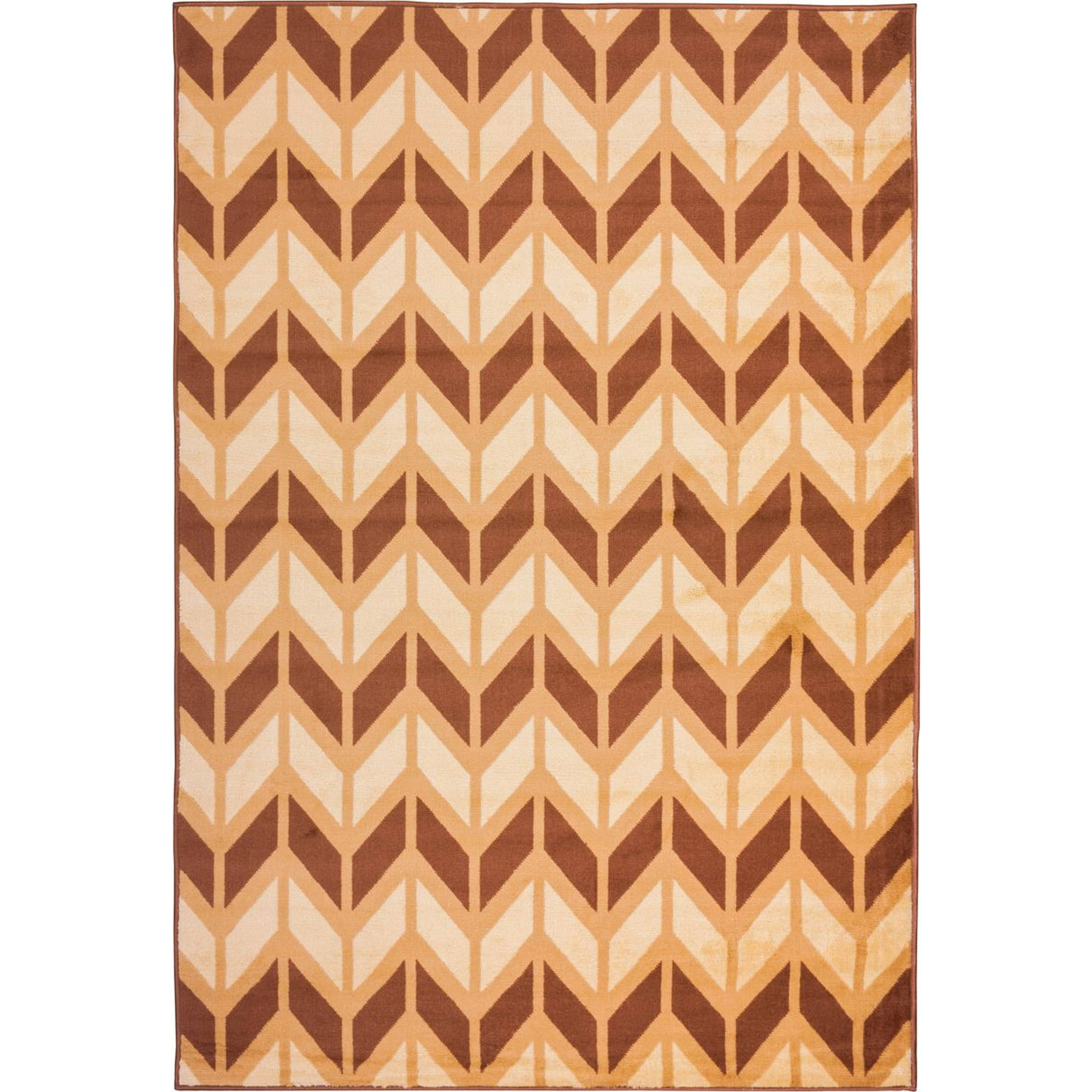 Spirit Chevron Gold 5x7 ( 5' x 7' ) Modern Geometric Zigzag Stripe Thin Value Area Rug Perfect for Living Room Dining Room Family Room