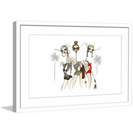 "Marmont Hill ""Pool Girls"" by Jamie Lee Reardin Fashion Illustrator Framed Art Print"