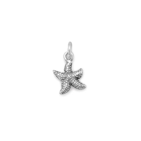 Small Starfish Charm Antique Finish Sterling Silver