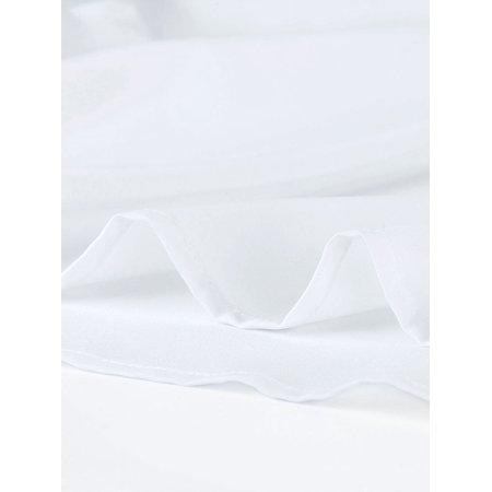 Unique Bargains Women's Short Sleeve Choker V Cut-Out Contrast Color Bow Tie Cuffs Casual Top (Size L / 14) White - image 3 de 6