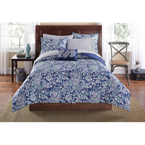 Mainstays King Jaipur Paisley Blue Bed in a Bag Set