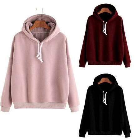 Womens Plain Hoodies Sweatshirt Ladies Pullover Tops Casual Jumper Blouse Pink Size M (Pullover Hoodies Pink)