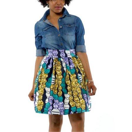 African Print Skirt (Bohemian Print Women High Waist Mini Skirt)