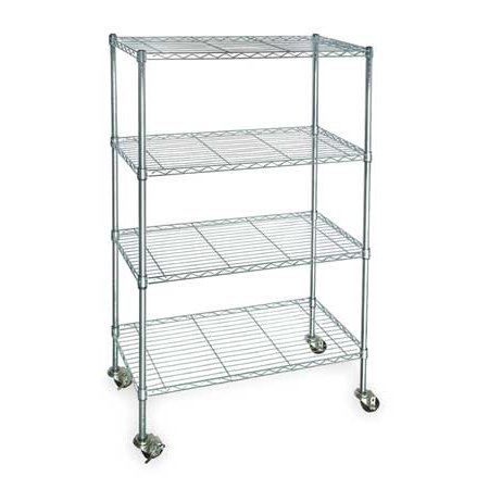 ZORO SELECT 3TPC7 Wire Cart, 4 Shelf, Zinc,60x24x67 In.
