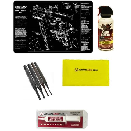 Extreme Pc - Gunsmith Cleaning Tool Gun Mat For S&W Smith & Wesson M&P Pistol + Pro Gun Cleaner Lubricant Spray Field Can + Gun Cloth + 4 pc Steel Punch Tool Takedown Disassembly Set Kit + Extreme Gun Grease