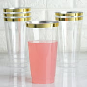 BalsaCircle 12 pcs 18 oz Clear with Gold Rim Plastic Glasses - Disposable Wedding Party Catering Tableware