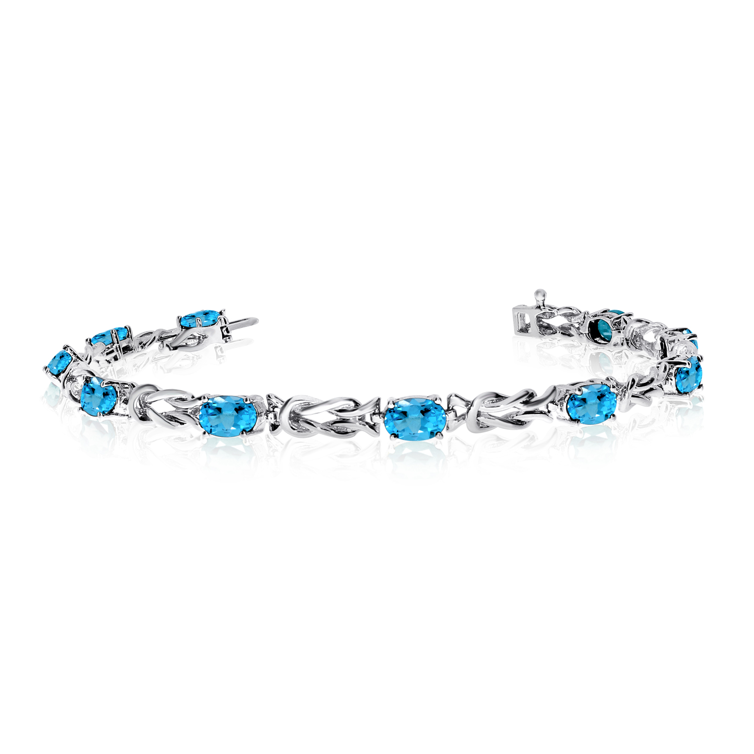 10K White Gold Oval Blue Topaz Reef Knot Bracelet by