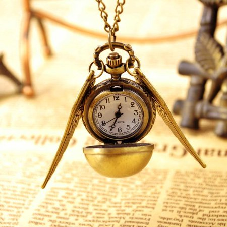 Vintage Bronze Punk Steampunk Quartz Pocket Watch Pendant Chain Necklace HFON (Divi Pearl Bronze Pendant)