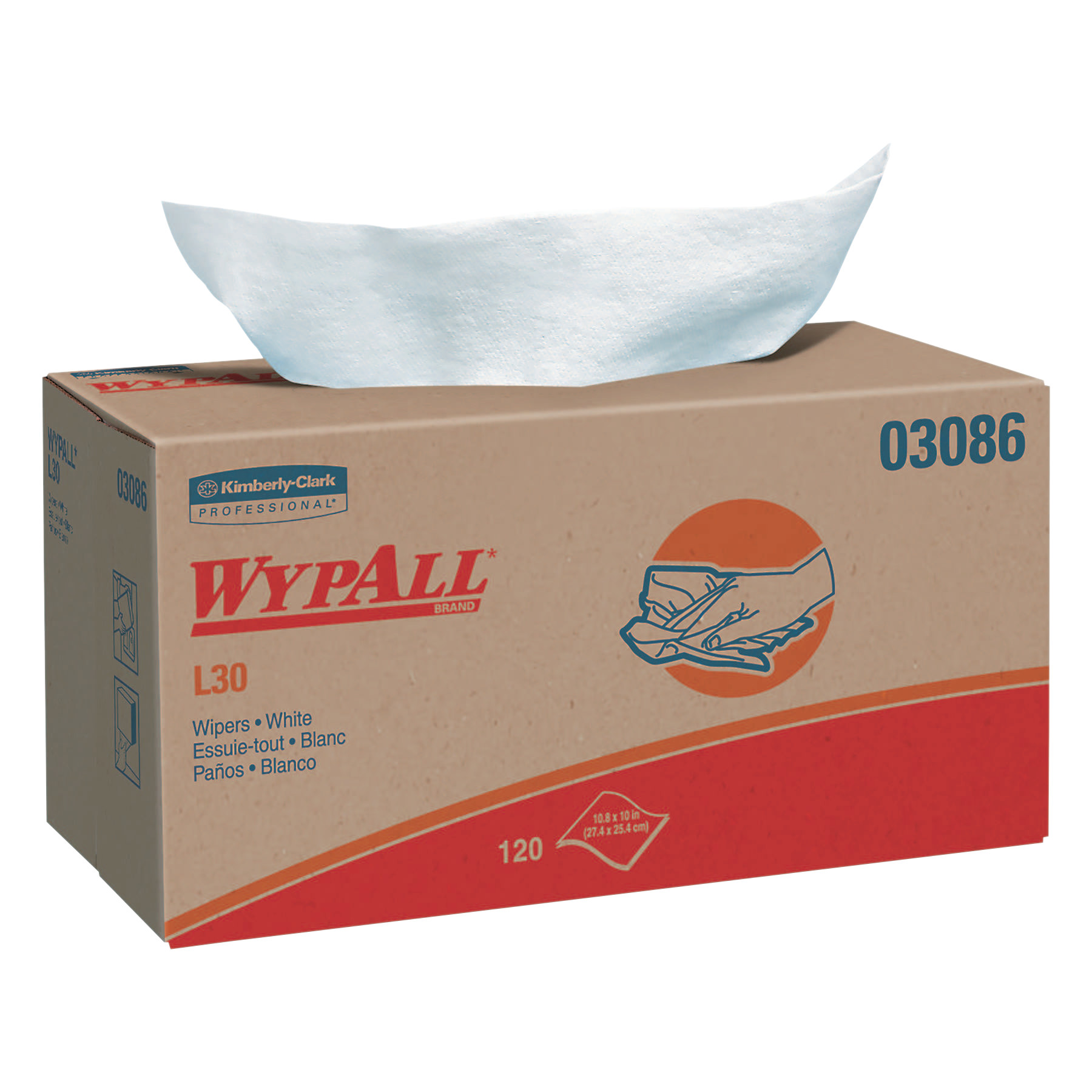 Kimberly-Clark Professional WypAll L30 Wipers, Pop-Up Box, White