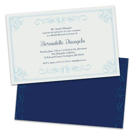 Personalized Elegant Swirls Wedding Luncheon Invitations
