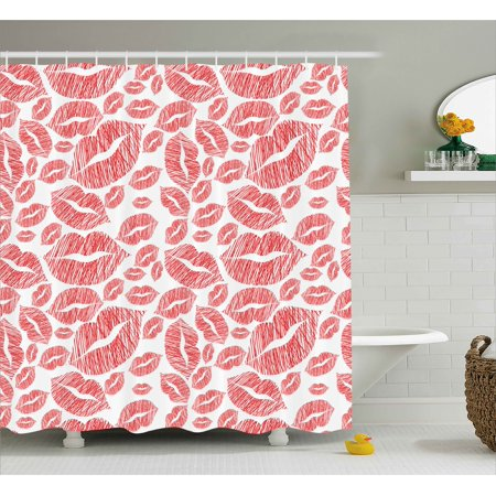 Romantic Shower Curtain Hot Retro Lady Lipstick Marks Sexy Feminen Women Girls Artwork Image Print