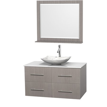 Wyndham Collection Centra 42 inch Single Bathroom Vanity in Gray Oak W