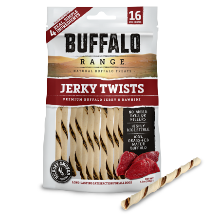 Buffalo Range Rawhide Dog Treats | Healthy, Grass-Fed Buffalo Jerky Raw Hide Chews | Hickory Smoked Flavor | Jerky Twist, 16 Count (Diy Healthy Halloween Treats)