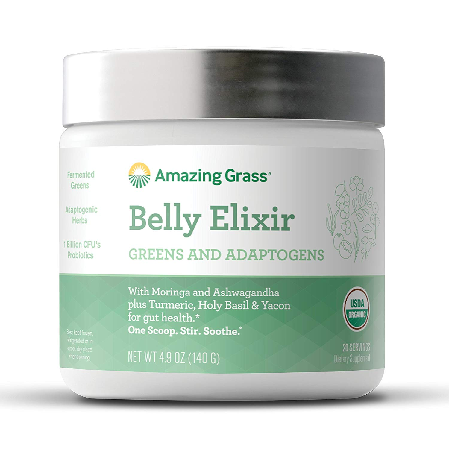 Amazing Grass Belly Elixir Powder with Greens & Adaptogens, 20 Servings