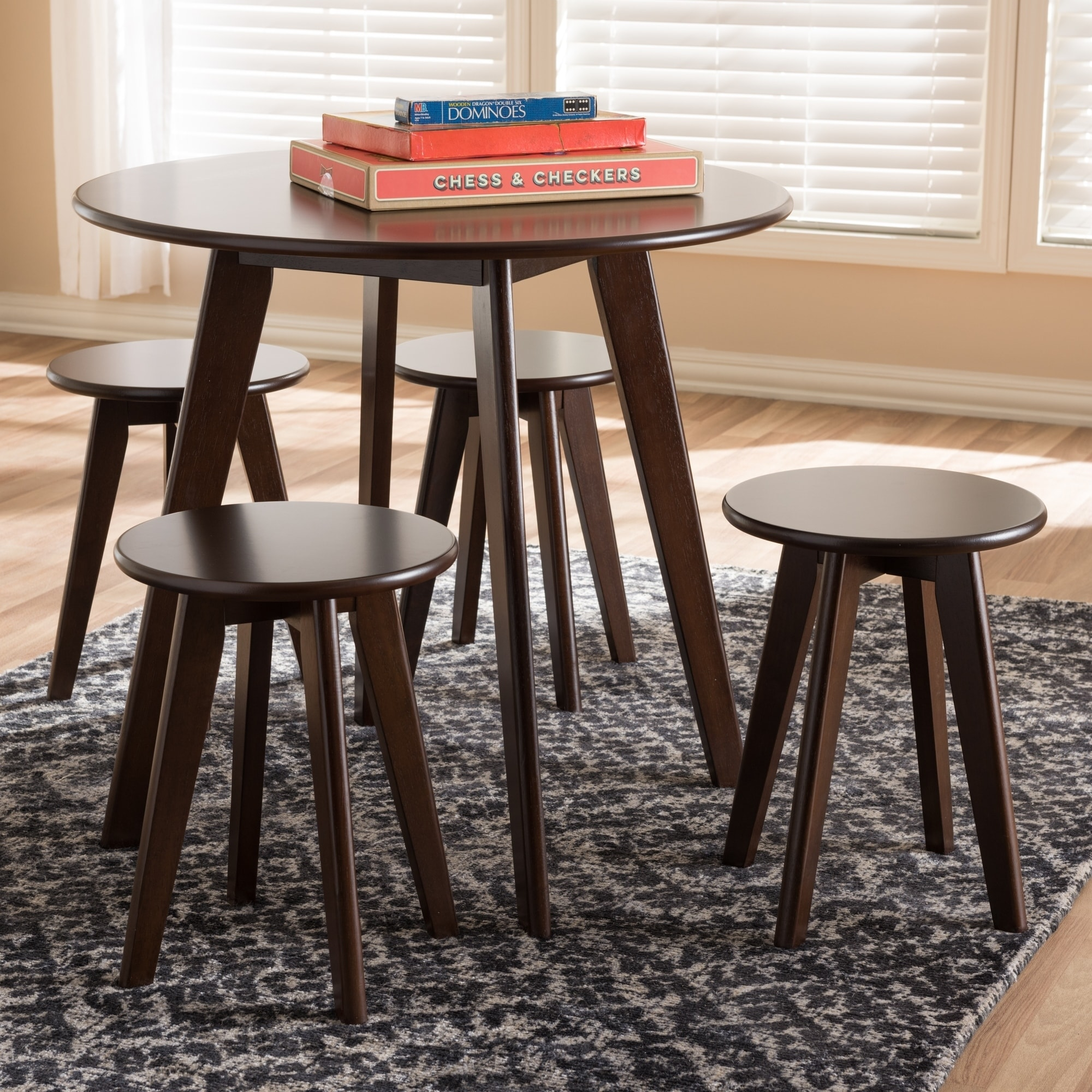 Baxton Studio Mid-Century Walnut Finished Wood 5-Piece Dining Set by