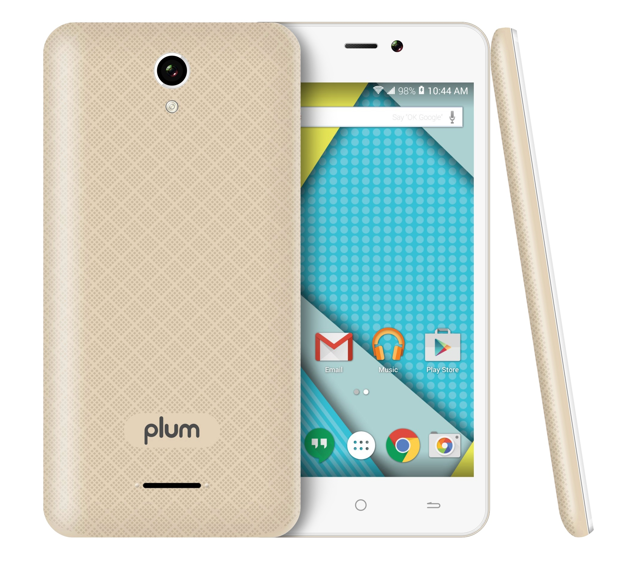 Plum - Unlocked Smart Cell Phone 4G GSM Android 8GB Memory Dual Camera Quad Core - Z515 Gold