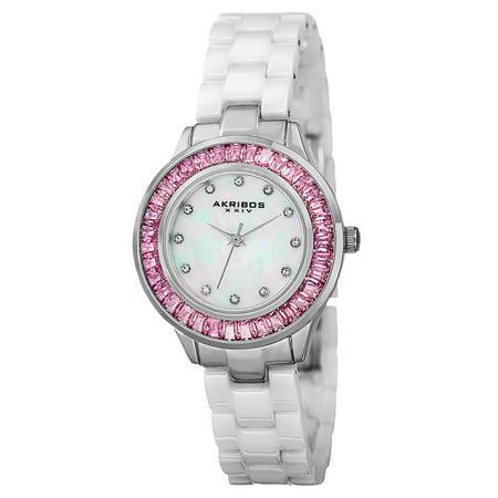 Women's Quartz Crystal Markers Ceramic White Bracelet