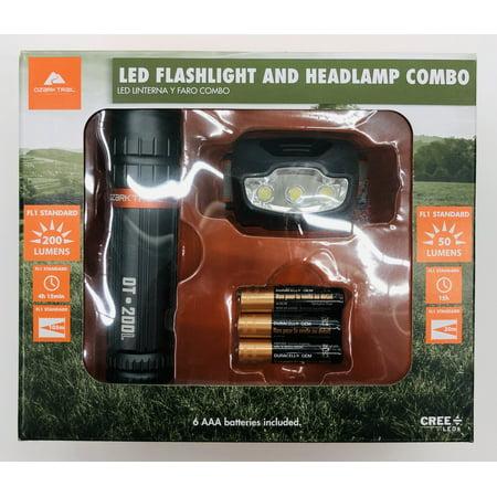 Ozark Trail LED Flashlight & Headlamp Combo, (200 Lumens & 50 lumens)
