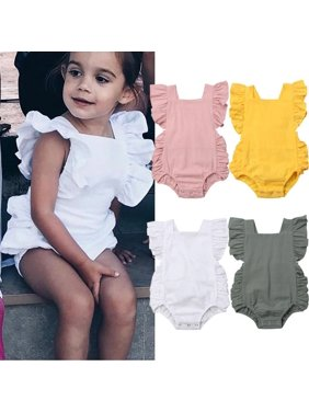 Summer Newborn Infant Baby Girl Ruffle Solid Romper Bodysuit Jumpsuit Outfit Clothes