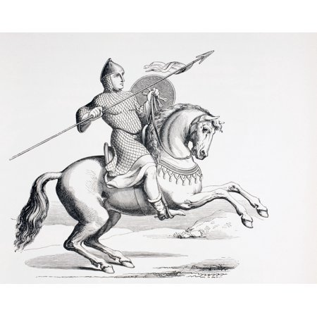 A Norman Knight Dressed In Chain Mail And Helmet Carrying Spear And Shield From Les Artes Au Moyen Age Published Paris 1873 Stretched Canvas - Ken Welsh  Design Pics (32 x 26)