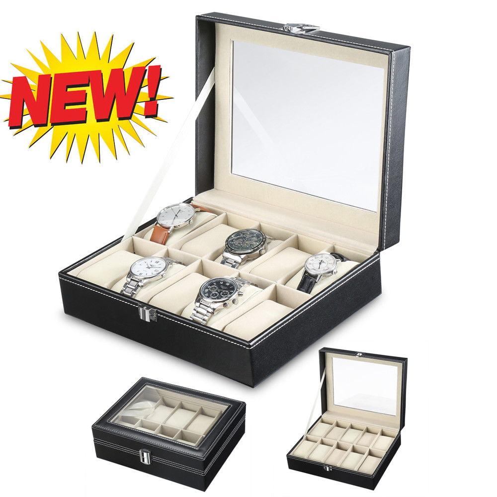 Zimtown 10 Slots Watchs Jewelry Organizer Storage Box Case Holder Display -Black