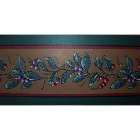 Fuchsia Berries on Hunter Green & Bronze Background Border JC805B By Seabrook
