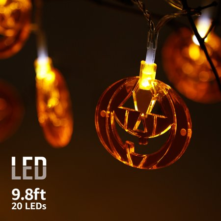 Halloween Copper Wire Decorative Lights with Flat Pumpkins Pendants, String Lights, Battery Powered, Indoors & Outdoors Waterproof, 8 Modes, 9.8ft 20 LEDs (Decorative Lights Halloween)