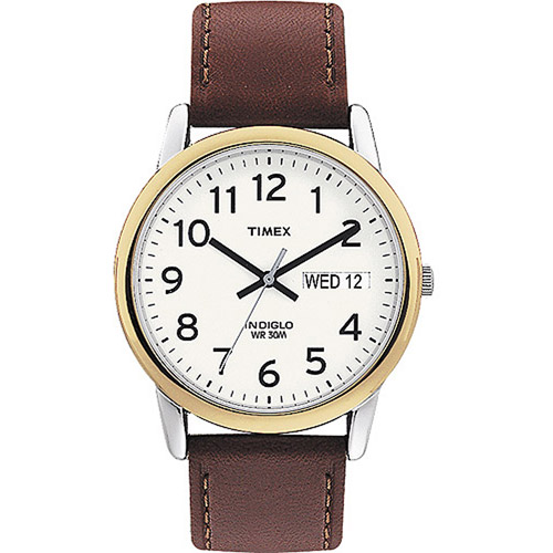 Timex Men's Easy Reader Watch, Brown Leather Strap