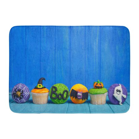 GODPOK Delicious Halloween Cupcakes with Bright Made of Confectionery Mastic Sweets Homemade Holiday Food Trick Rug Doormat Bath Mat 23.6x15.7 inch - Homemade Halloween