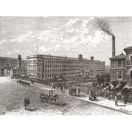 Saltaire Mills Bradford West Yorkshire England in the 19th century From Cities of the World published c1893 PosterPrint