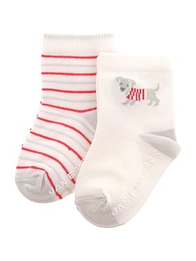 Janie And Jack White / Red Grey Dog Stripe Sock 2 Pack - 3-6 Months