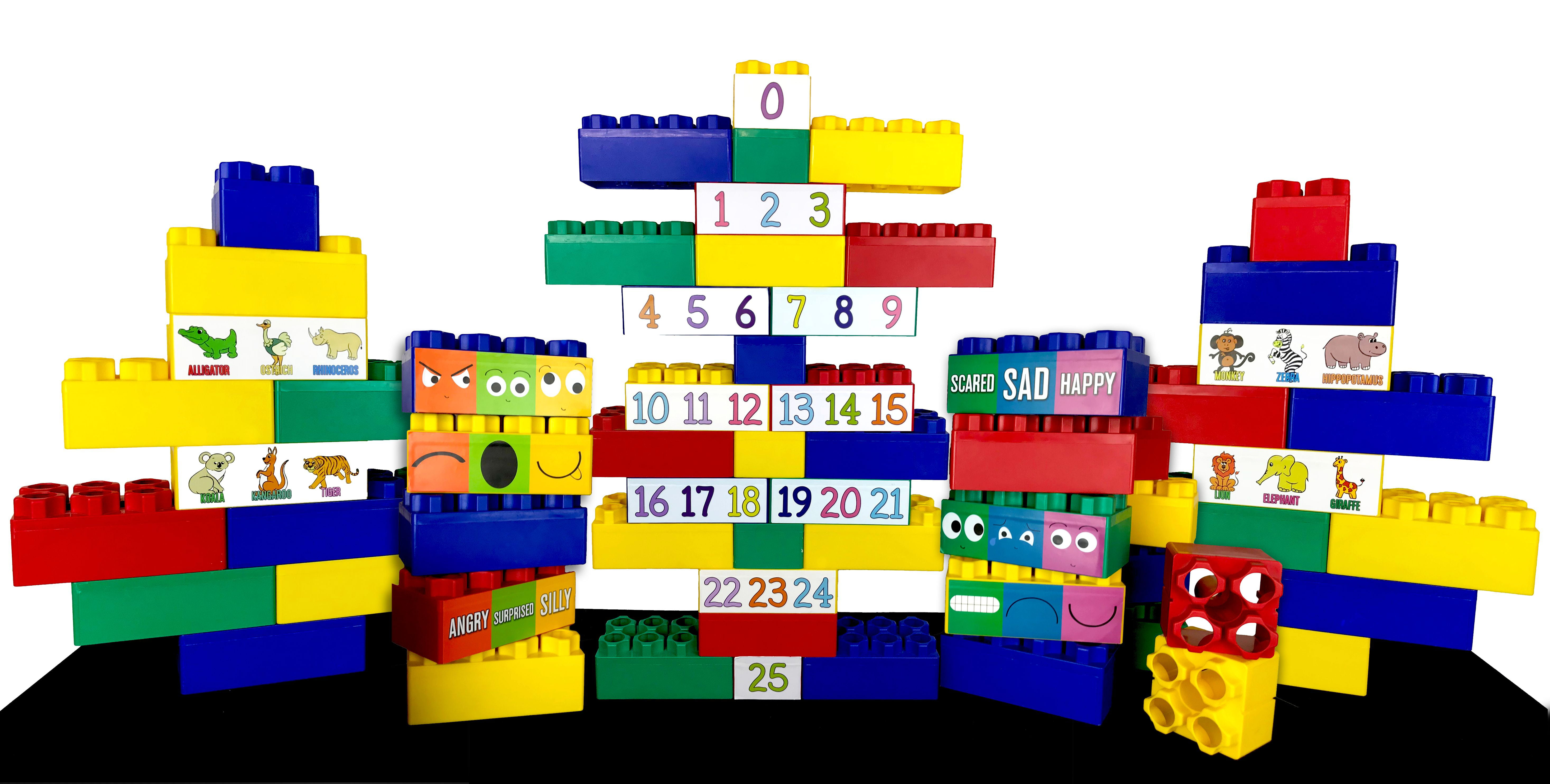 Jumbo Blocks 99 Piece Educational Learning Set with Jumbo Numbers, Animal & Facial Expression Stickers by Serec Entertainment, LLC