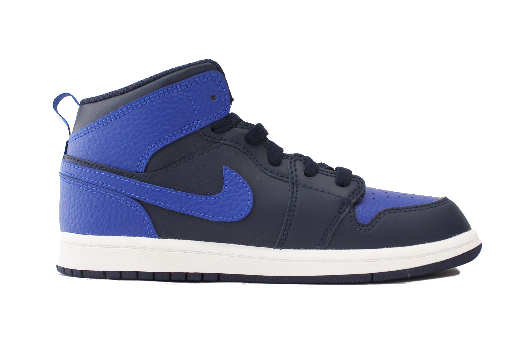 0ac5ddb4110 NIKE AIR JORDAN 1 MID PS SZ 2 Y KIDS OBSIDIAN GAME ROYAL WHITE NAVY 640734  412 - Walmart.com