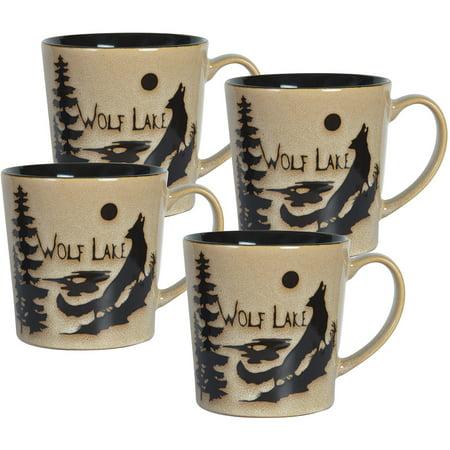 Pfaltzgraff Studio Wolff Lake Creek Set of Four Sixteen Ounce Mugs
