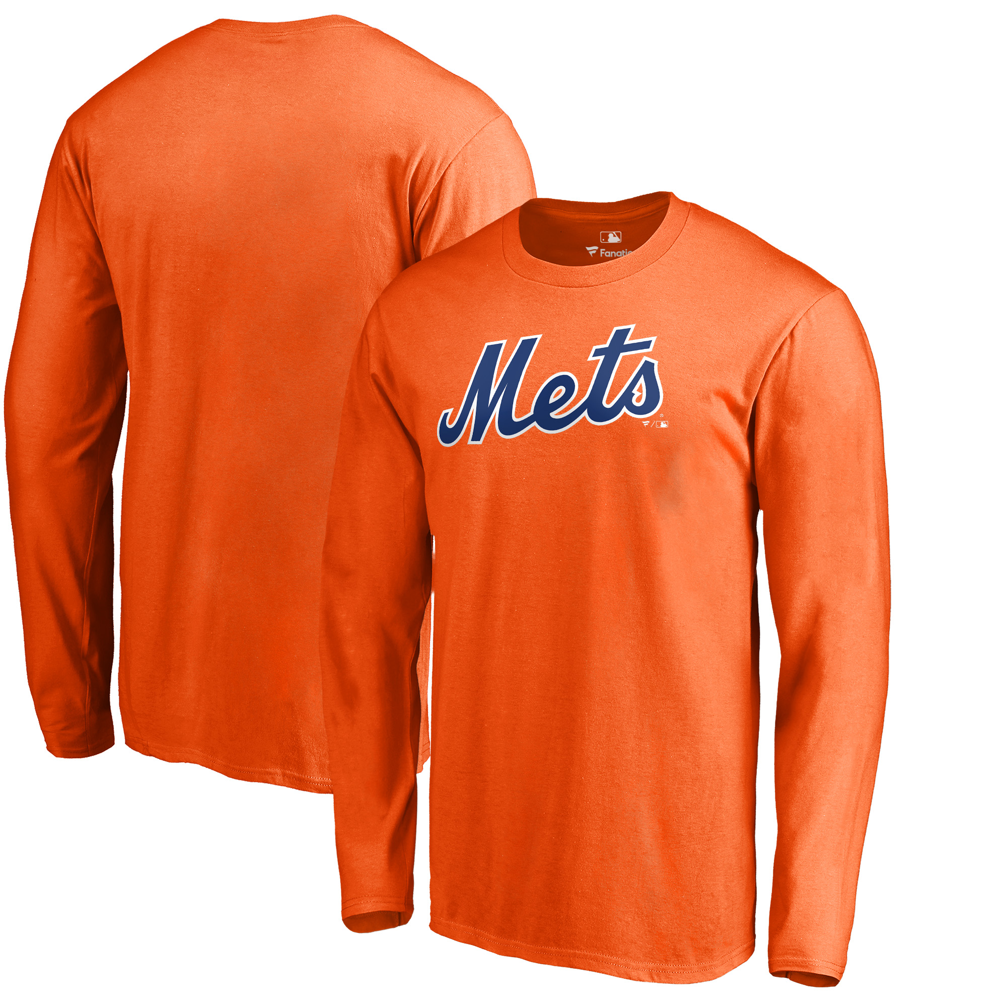 New York Mets Fanatics Branded Big & Tall Team Wordmark Long Sleeve T-Shirt - Orange