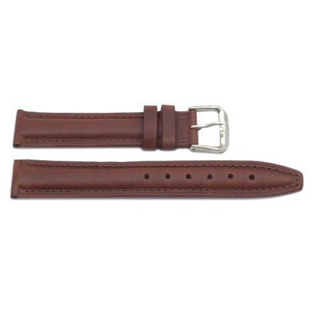 18mm Genuine Leather Smooth Oil-Tanned Brown Watch Band